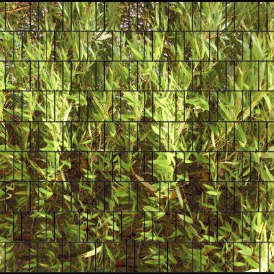 Sichtschutzstreifen Bambus mit Bruchstein